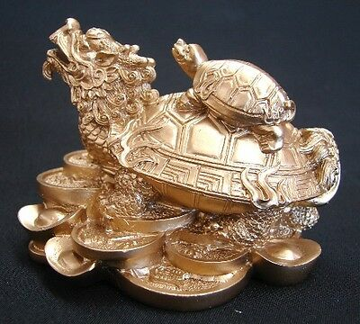 Feng Shui Chinese Golden Dragon Turtle Tortoise Statue with Turtle on the Top