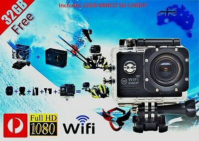 32GB WIFI Sports Action Video Helmet Camera 1080P FULL HD Waterproof + Gopro
