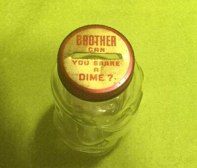 """Vintage Glass Piggy Bank """" BROTHER CAN YOU SPARE A DIME ?"""