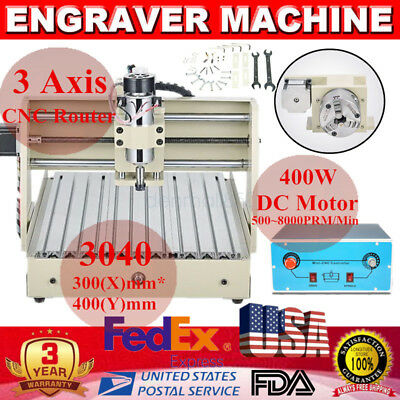 3 Axis 3040 Desktop CNC Router Engraver 400W 3D Wood Engraving Milling Machine