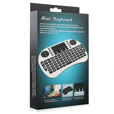 i8+ 2.4GHz Wireless keyboard Air Fly Mouse Remote For Android Win TV BOX MXQ Wht