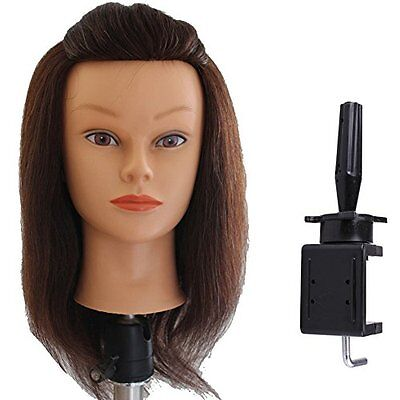 """Lian's 14-15"""" 85% Human Hair Cosmetology Mannequin Manikin Brown with Free Clamp"""