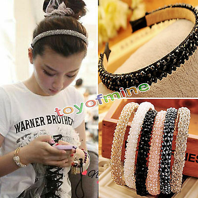 Fashion Women Rhinestone Bling Crystal Headband Hair Band Head Piece Chain