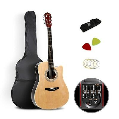 """Electric Acoustic Guitar Wooden Classical 41"""" Inch Natural With Strap Bag Picks"""
