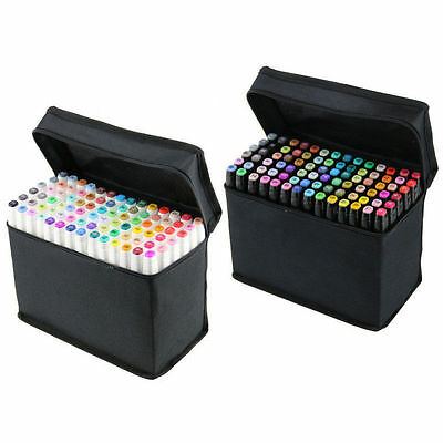 40 60 80 Colours Alcohol Art Graphic Twin Marker Drawing Pen Broad Fine Point
