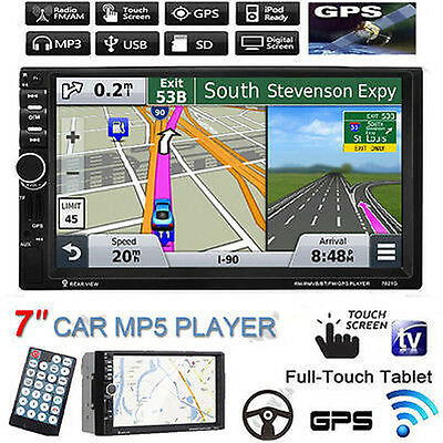 "GPS 7"" Double 2 Din HD Touch Bluetooth Car Stereo MP5 Player USB/TF/FM DVR/AUX"