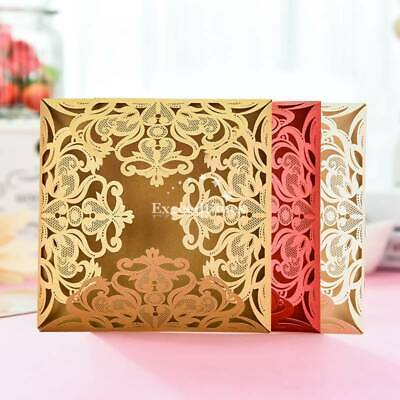 200x Personalized Luxury Laser Cut Wedding Party Invitation Cards Free Envelopes