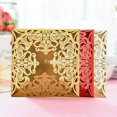 Personalized Luxury Lace Laser Cut Wedding Invitation Cards Free Envelopes Seals