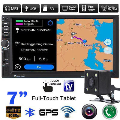 """7"""" HD Bluetooth Touch 2 Din Car In-Dash Stereo MP3 MP5 Player USB/SD/FM/TV GPS"""