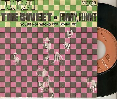 """The Sweet 7"""" Spain 45 Funny Funny+You´re Not Wrong For Loving Me 1971 Glam Rock"""