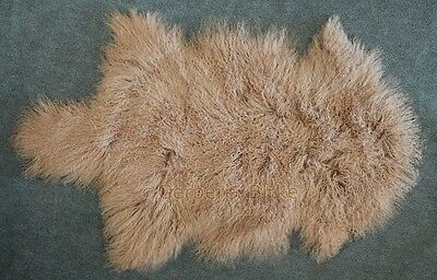 Tibet Sheepskin Lambswool like Gotland brown beige colored from the Tannery