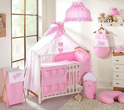 10 Piece Baby Bedding Set to fit Cot 120 x 60 cm - Hearts Pink