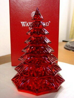 Waterford Crystal Red CHRISTMAS TREE SCULPTURE - NEW / BOX!