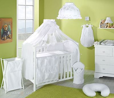 10 Piece Baby Bedding Set to fit Cot Bed 140 x 70 cm - Hearts White