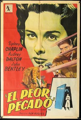 717 DEADLIEST SIN original Argentinean movie poster '56 Sydney Chaplin