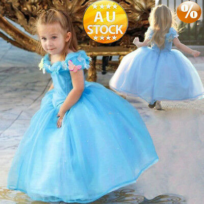 Cinderella Princess Cosplay Costume Kids Girls Childs Party Fancy Dress sdgw
