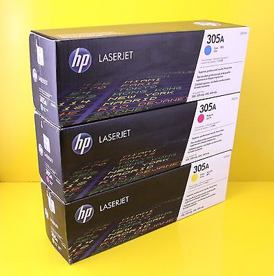 Genuine HP 305A Toner Cartridge Set , Cyan / Yellow / Magenta ( Set of 3 )
