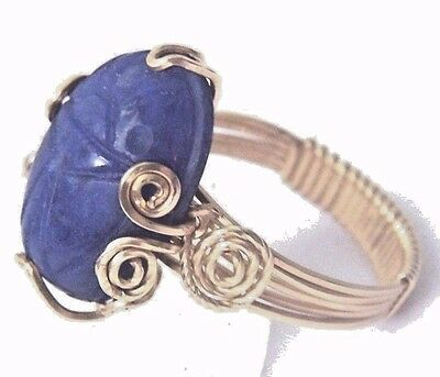 Egyptian SCARAB Ring 8.5 carats Blue SODALITE Gemstone 14kgf Gold Setting Size 7