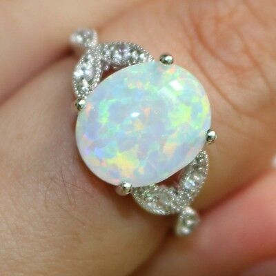 Size 4-12 Sterling Silver Australian Fire Opal Ring Wedding Engagement Propose