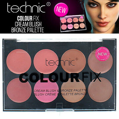 Technic Farbe Fix Cream Blush & Bronze 8 Shade Makeup Palette - Concealer Kit