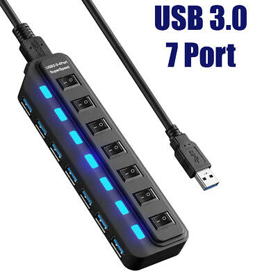 High Speed Multi Hi-Speed Seven 7 Port ports USB 3.0 Hub + Cable For PC Laptop