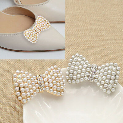 1 Pc High-heel Shoe Clip Buckle Wedding Removeable Pearl Silver Gold Bow Decor