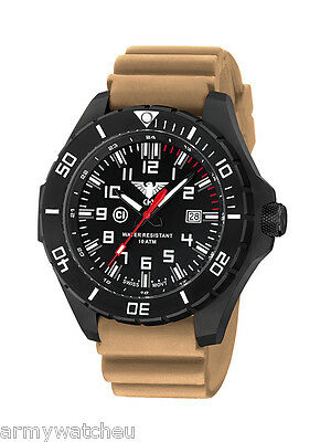 Tactical Watches Infantry Men's Military Watch Analog Date Rubber Diver Tan