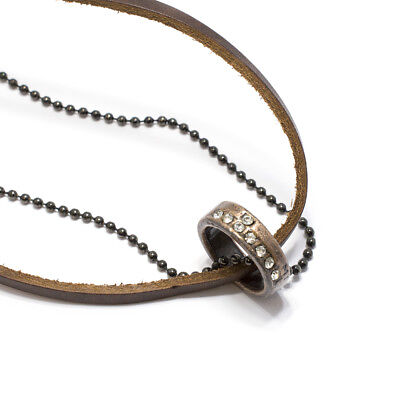 Brown Leather Necklace Black Bead Chain with Jeweled Ring