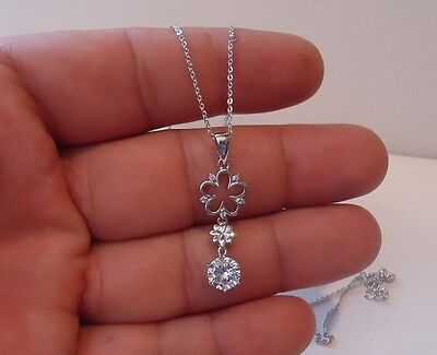 Open Flower Necklace Pendant W/ Lab Diamonds/ 925 Sterling Silver / 18''
