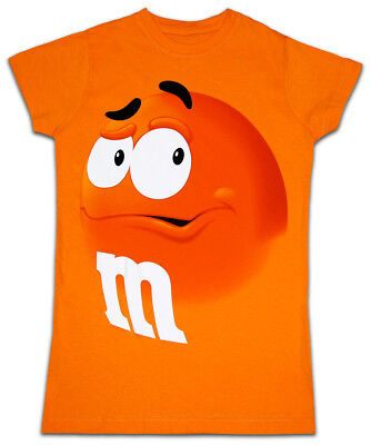 7091f65c581 Juniors Womens M M s Chocolate Candy Silly Character Face Orange T-Shirt Tee