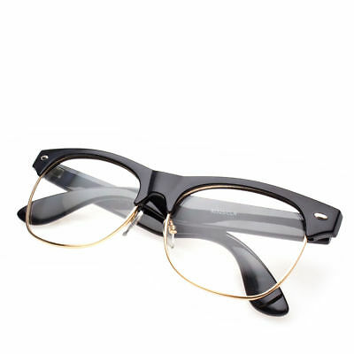 Fashion Half Frame CLEAR LENS GLASSES Black GOLD Color Vintage Style Retro v