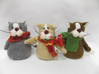Set of 3 Soft Material Kitty Cats with Colorful Scarf Christmas Tree Ornament