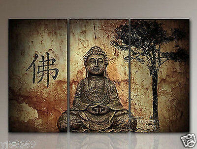 3pc modern abstract canvas art wall decor oil painting buddha no frame