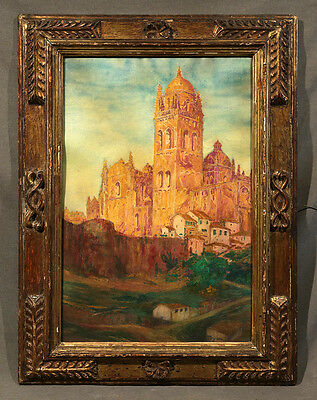 Orientalist Watercolor Painting Signed with 15th Century Frame Church Landscape