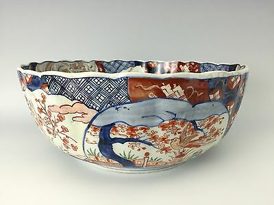19th Century Japanese OLD IMARI Porcelain Ribbed Punchbowl w/ Scalloped Edge