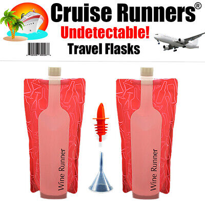 Cruise Flask Kit 2 Rum Runners Sneak Smuggle Alcohol Liquor Booze Wine Travel