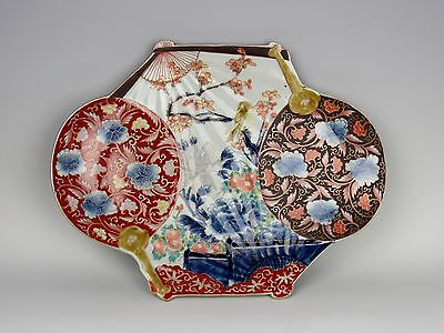 Rare 19th Century Meiji Period Japanese Imari Rectangle 4 Fan Charger - Perfect