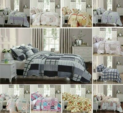 Bedspread 3 Pieces Cotton Quilted Filled Cotton Patchwork Printed Best Comforter