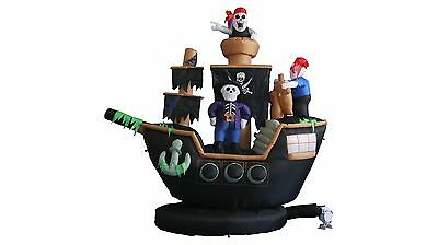 Halloween Inflatable Pirate Ship Skeleton Crews Air Blown Blowup LED Decoration