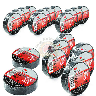 "20 Rolls Of 3M 1700 Temflex 3/4"" X 60' Black Electrical Tape Free Shipping"