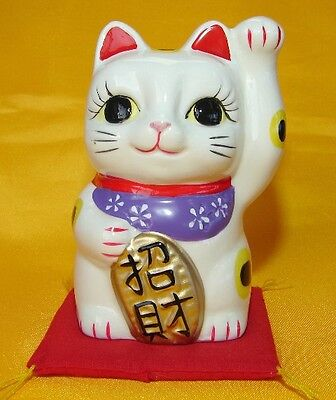 Japanese White Porcelain Lucky Cat with Left Hand Up