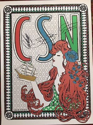 Crosby Stills And Nash Not Young Signed Show Tour Poster Coa Cd Lp Vinyl Csn
