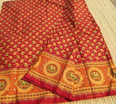 Thick Batik Fabric - Small Golden Elephants in Red