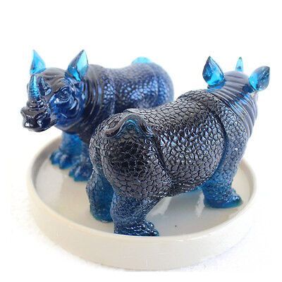 Pair of Feng Shui Blue Rhino Statue