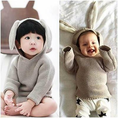 2016 Baby Infant Clothes Kids Halloween Hoodie Bodysuit Knit Sweater Rabbit Ear*