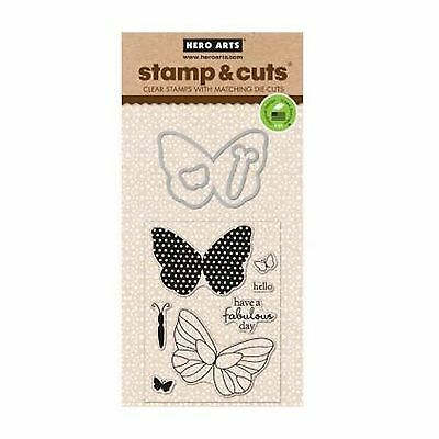 HERO ARTS - Stamp & Cuts - BUTTERLIES - cutting dies & clear cling stamps