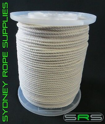 5Mm X 220Mtr Reel 3 Strand Cotton Rope Free Postage Austwide