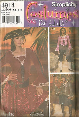 Pirate Lady Costume Buccaneer Wench Simplicity 4914 6-12 Halloween Drama NEW  sc 1 st  PicClick & SIMPLICITY 4914 OOP Sexy Lady Pirate Costumes Pattern 6-12 - $10.19 ...
