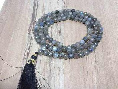 Natural 6mm Labradorite AAA Mala with 108 Prayer Beads for Meditation Necklace
