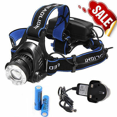 CREE XM-L XML T6 LED Rechargeable Zoomable Head Torch Headlamp Headlight 2x18650